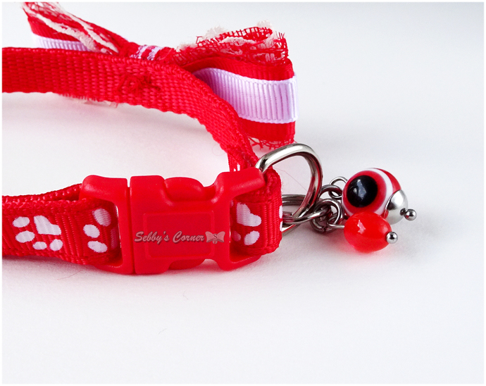 Red Cat Collar with Bow and Evil Eye Charm, Handmade Pet Accessories, Small Dog