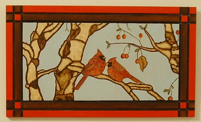 Cardinals, Red Birds, Aspen Trees, Wood Wall Art, Pyrography, Decorative Art