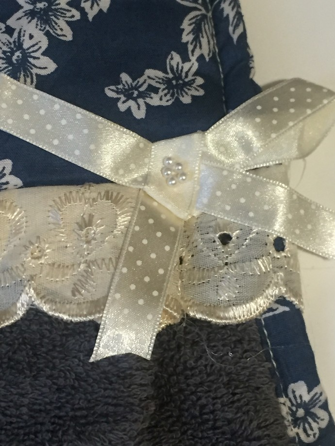 Decorated Grey Hand Towels