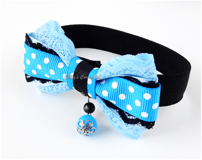 Kimba Elastic Bow Tie Collar in Blue with Polka Dots, Cat Accessories, Pet Photo