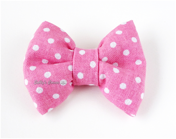 Pink Polka Dot Bow Tie for Pets, Slide on Bow Tie, Handmade, Cat Accessories,