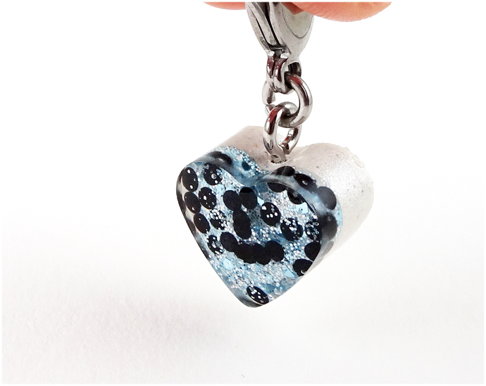Sky Blue Sparkles Resin Cat Collar Charm, Handmade, Cat Accessories, Pet Charms