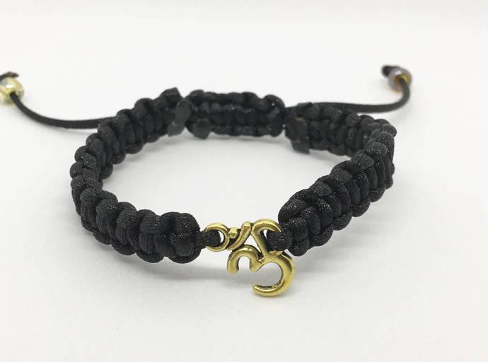 Yoga Bracelet, Om Charm Nylon Braided Charm Bracelet