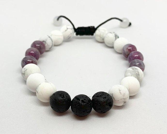 Pink Tourmaline October Birthstone Essential Oil Lava Stone Beaded Bracelet,
