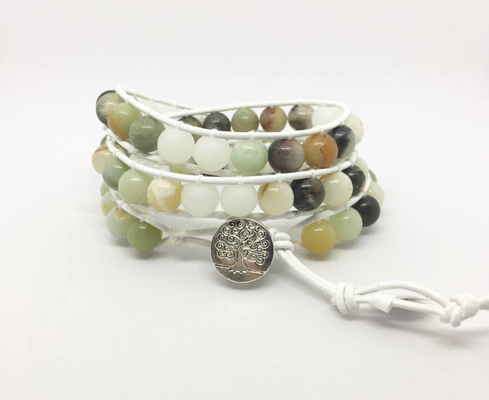 Amazonite Gemstone Triple Leather Wrap Bracelet, Beaded White Leather Family