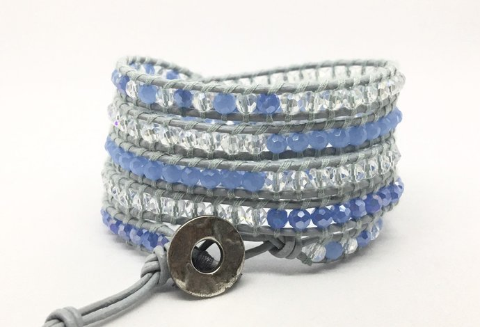 Blue and Clear Crystal 5 Wrap Boho Style Leather Wrap Bracelet, Boho Wrap