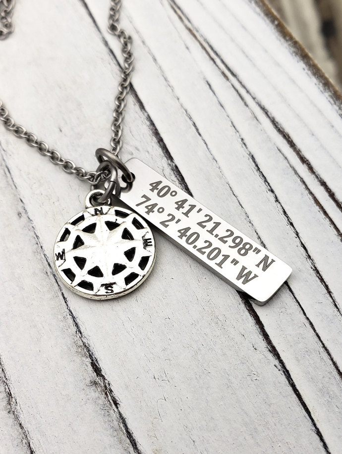 Customized Stainless Steel GPS Coordinates Necklace