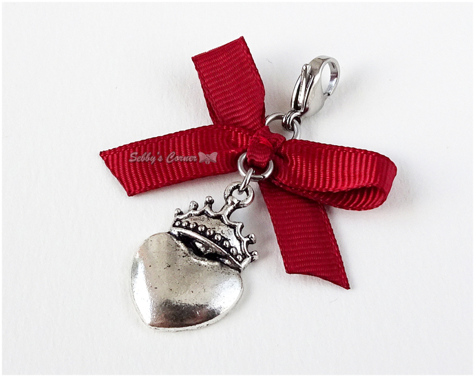 Crowned Heart Pet Collar Charm, Burgundy Red, Antique Silver, Zipper Pull, Cat