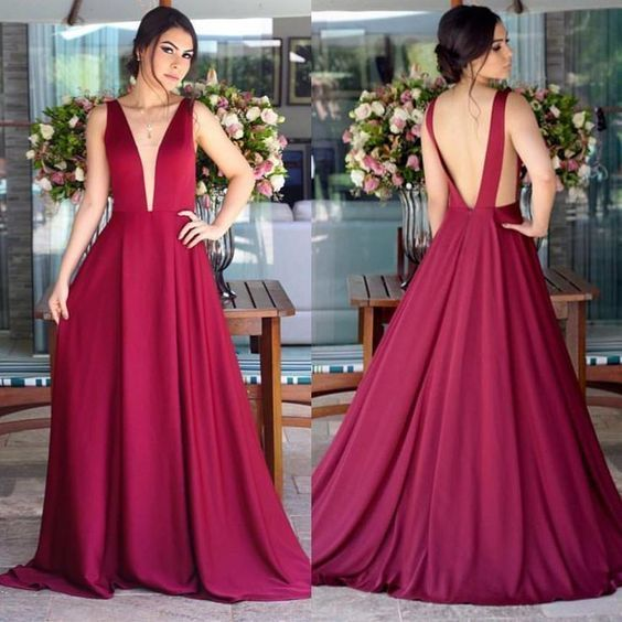Sexy Deep V-neck Long Chiffon Open Back Bridesmaid Dresses