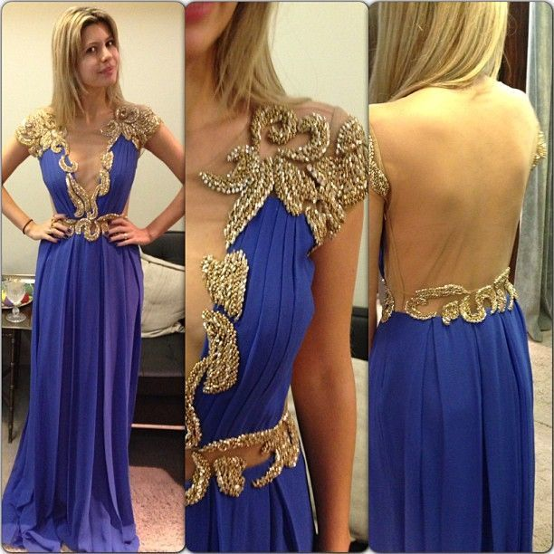 Cal sleeve prom dress, long prom dress, royal blue prom dress, prom dress,