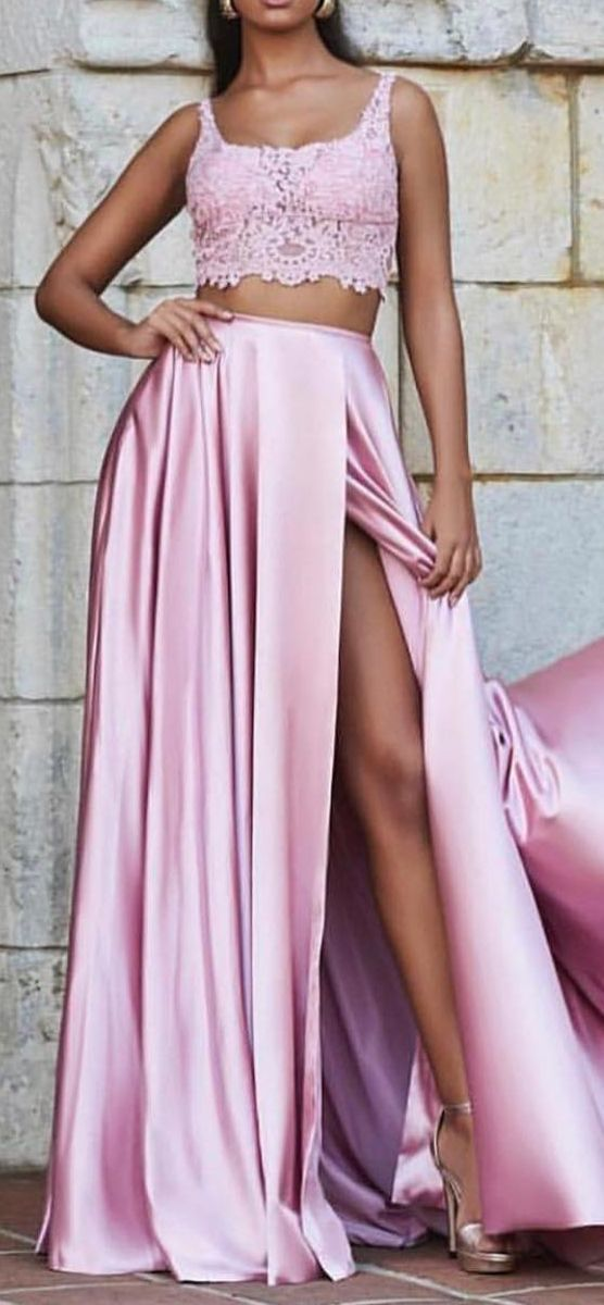 two piece pink long prom dresses,chic a line junior prom dresses with