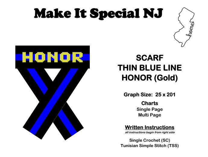 Scarf - Thin Blue Line - Honor - Gold