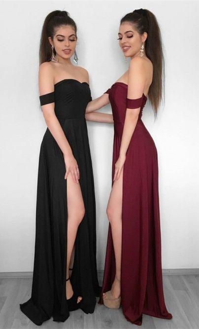 Charming Prom Dress, Sexy Black/Burgundy Long Prom Dresses, Split Slit Chiffon