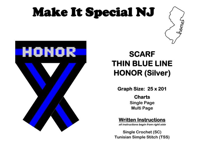 Scarf - Thin Blue Line - Honor - Silver