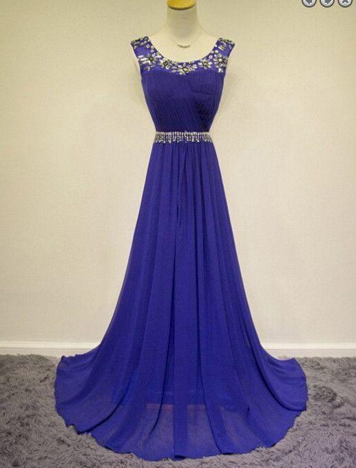 Elegant A Line Chiffon Evening Dress, Blue Long Prom Dress, Pretty Beaded