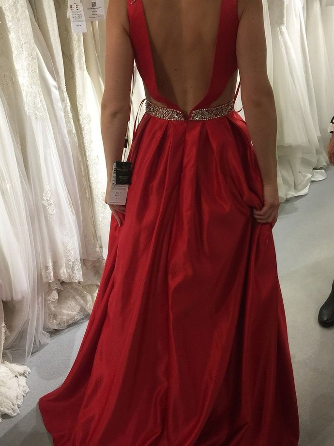 Red A-line V-neck Satin Prom Dresses,Long Beaded Prom Dress with