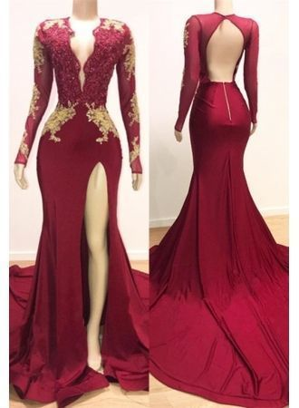 Gorgeous Backless Mermaid Evening Dress, Sexy Split Slit Long Sleeve Prom Dress