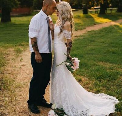 Custom Made Off the Shoulder White Lace Mermaid Wedding Dresses Bridal Gown