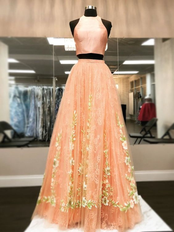 4103428be Two Piece Prom Dresses High Neck Aline Floral Lace Orange Long Chic Prom  Dress