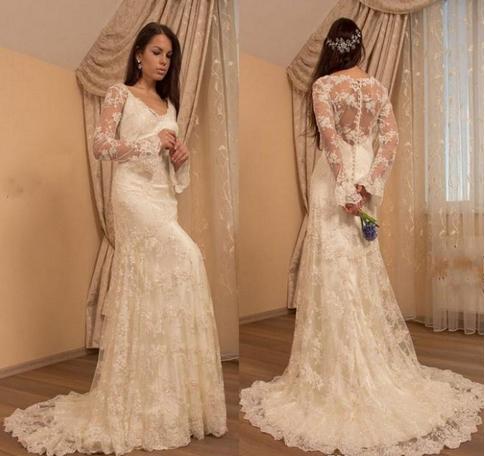 Charming Long Sleeve Sheer Back Mermaid Wedding Dress, Ivory Lace Wedding