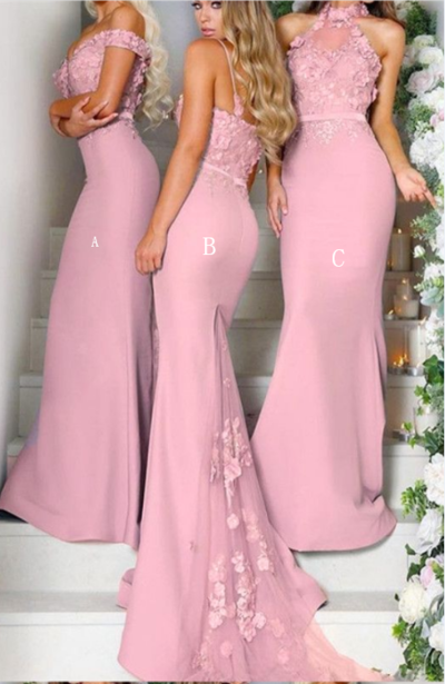 Pretty Pink Mermaid Long Bridesmaid Dresses with Lace