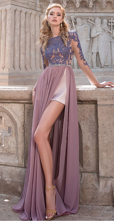 Charming Chiffon Long Sleeves A-line Prom Dress, Sexy Evening Dress With Slit &