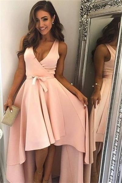 Lovely Simple Pink V-neck Short Front Long Back Cute Prom Dresses For Teens