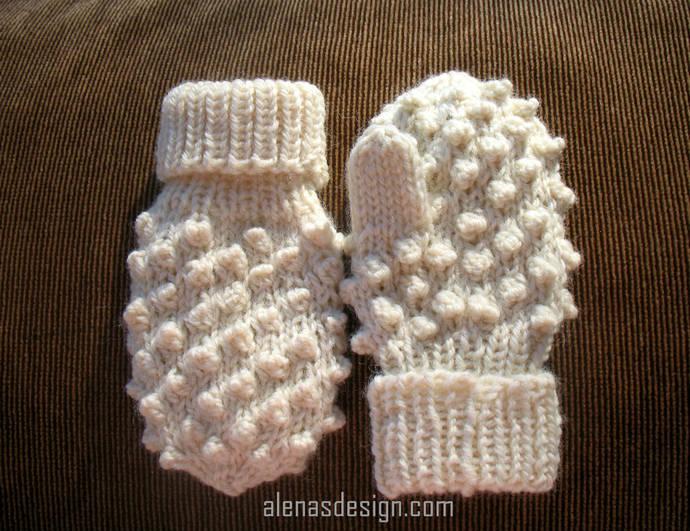 Bobble Mittens Knitting Pattern 219 Adult Size S/M/L Child Size XS/S/M/L Toddler
