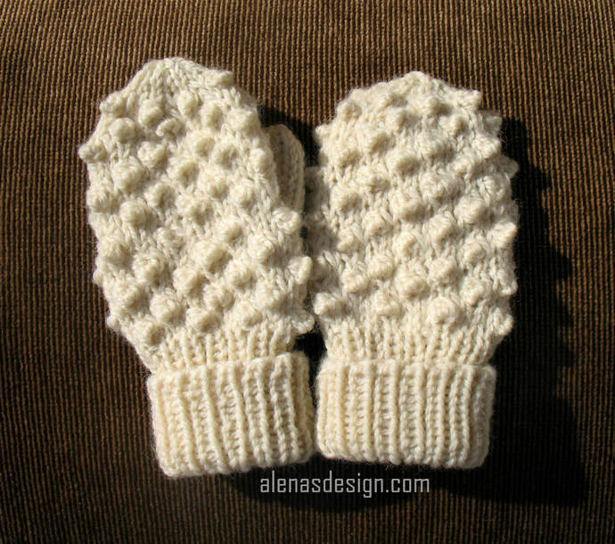Bobble Mittens Knitting Pattern 219 Adult Size S/M/L Child Size XS/S/M/L Toddler