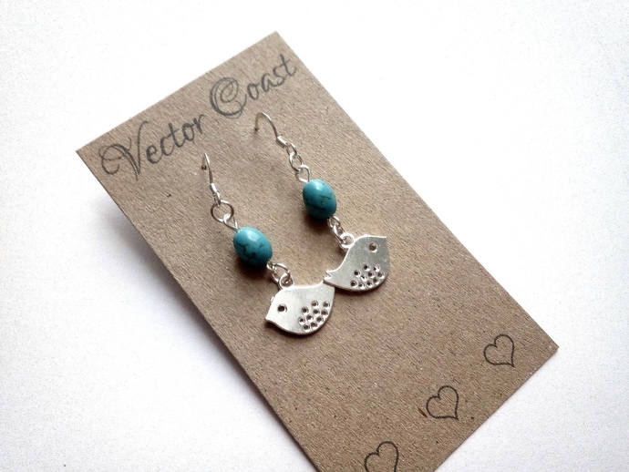 Turquoise and Silver Bird Earrings