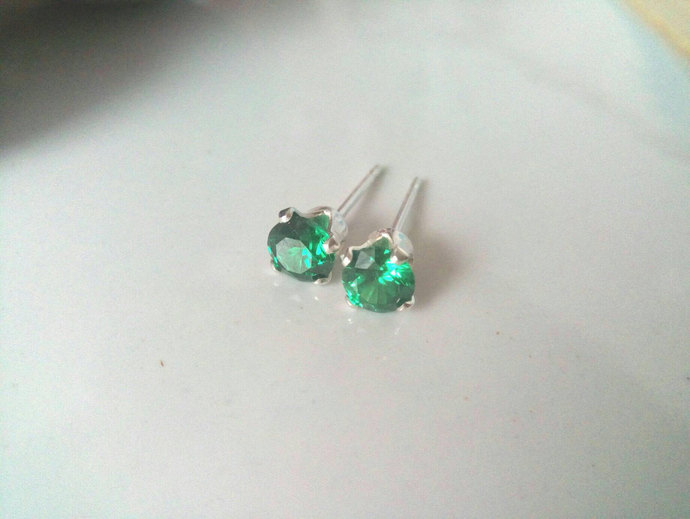 Emerald CZ Stud Earrings