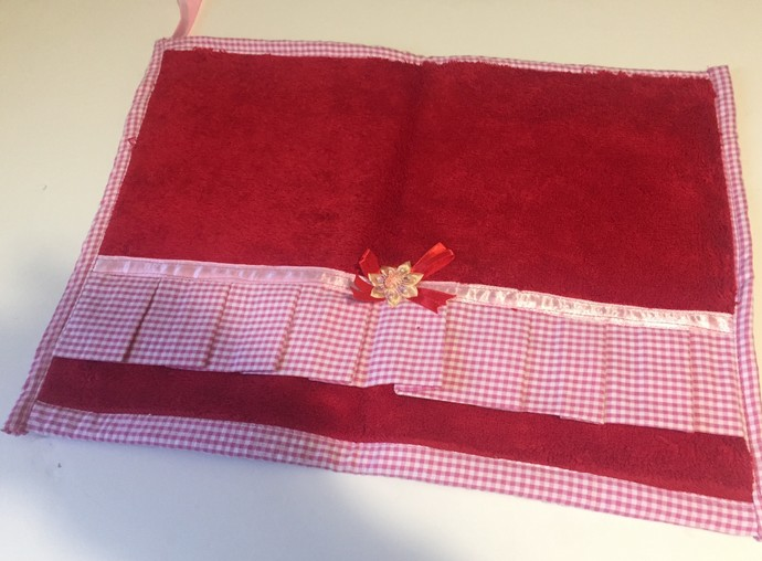 Decorated Red Hand Towels