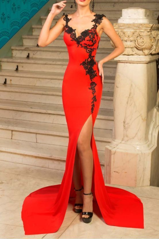 Sexy Red Mermaid Prom Dresses,Split Dress,Long Party Dress