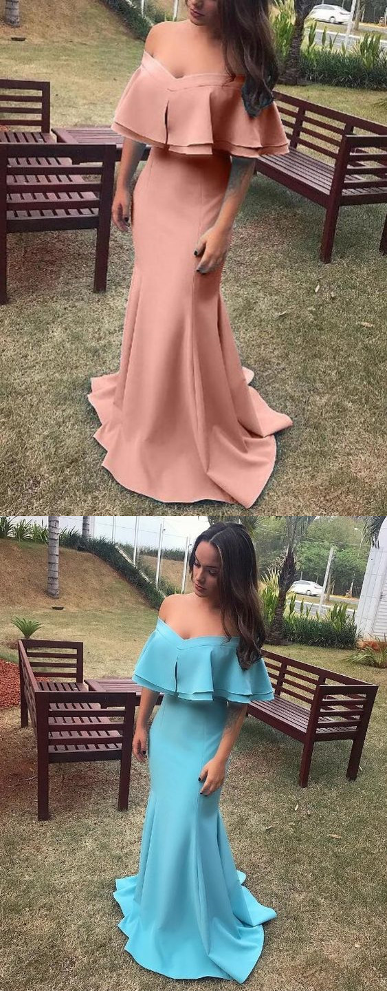 New Pink Cascading Ruffle Off Shoulder Backless Mermaid Cocktail Prom Wedding