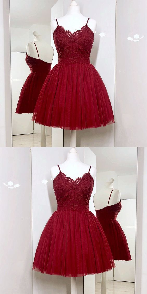 Spaghetti Straps A-Line Burgundy Tulle Short Prom Dress with Lace