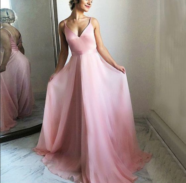 A-Line V-Neck Backless Pink Chiffon Long Prom Dress