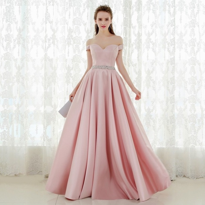 1e1b49ea584 Light Pink Prom Dress,Sexy Off Shoulder Sleeves Evening Dress,Sexy Sleeves  Light