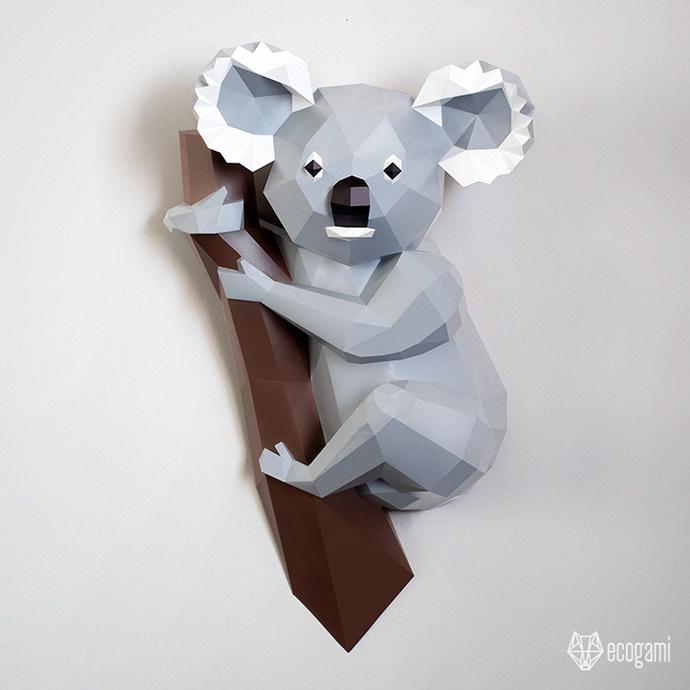 Make your own koala papercraft | DIY wall mount | 3D koala papercraft sculpture