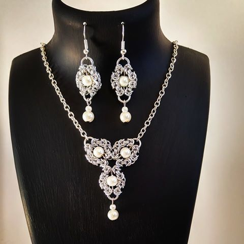 necklace and earrings set, chainmaille Romanov jewelry, boho chic fashion.