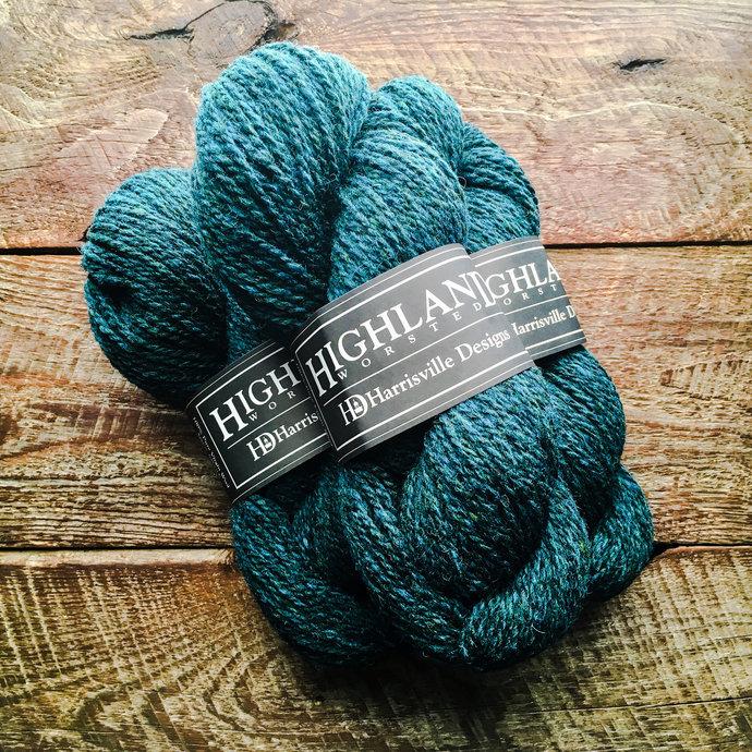Wool yarn - Highland wool yarn, Worsted Weight, Loden Blue, teal yarn, wool