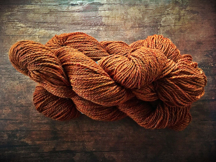 Peace Fleece burnt orange wool yarn for knitting - Glasnost Gold worsted weight