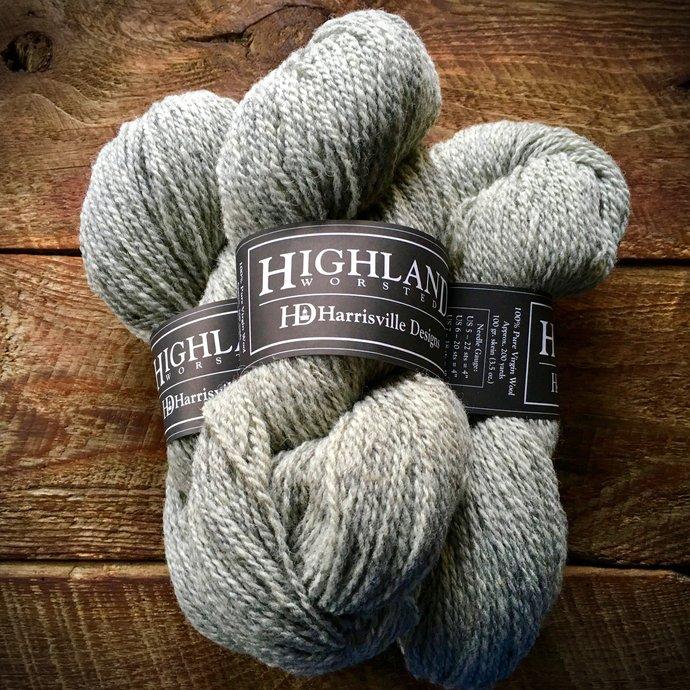 Highland worsted weight gray wool yarn, Silver Mist