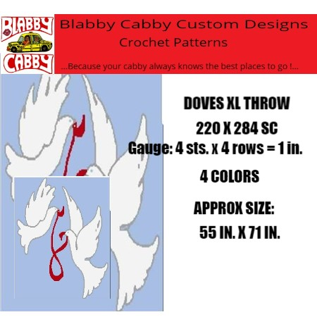DOVES XL THROW 220 X 284 SC, GRAPH & WRITTEN, GAUGE: 4 STS. X 4 ROWS = 1 INCH,