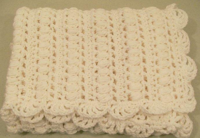 Baby Girl Crochet Blanket White Baby By Handmadegiftsbybarb On Zibbet