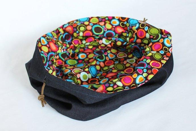Denim & Circle Print Toy Bag with Drawstring, Rainbow Dots Handmade Extra-large