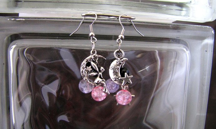 Pink and Purple Moon Fairy Earring Set - Item Number 5376