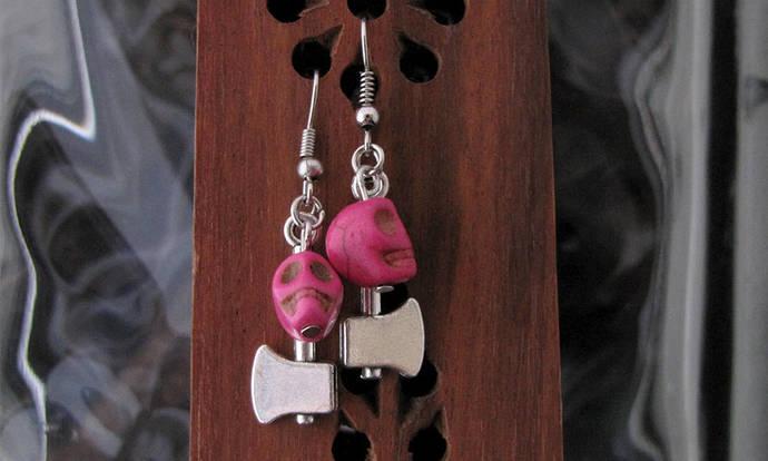 Pink Howlite skulls and silver hatchet Earring set - Item Number 5453