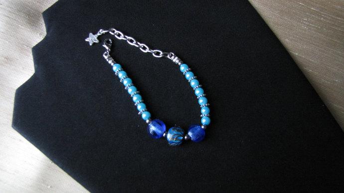 Blue Pearl and Lampwork Beaded Bracelet - Item Number 5166
