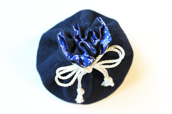 Snowflake Bucket Bag Royal Blue White and Denim Small Toy Bag Travel Organizing