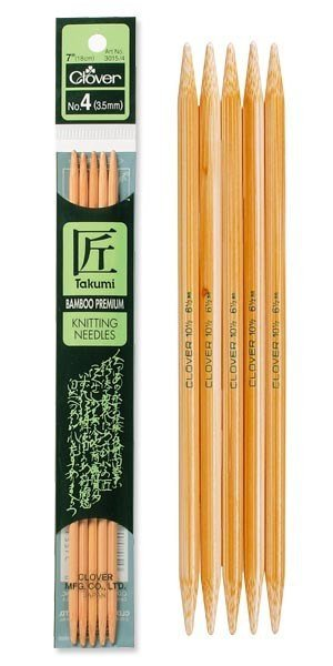 Clover 7 Inch Size 8 Takumi Double Point Bamboo Knitting Needles Part No. 3015-8